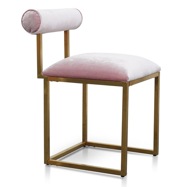 Rose Dining Chair In Pink Velvet Brushed Gold Base