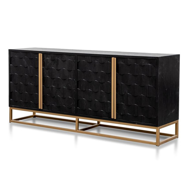 Dustin 1.78m Black Wood Gold Handle Sideboard