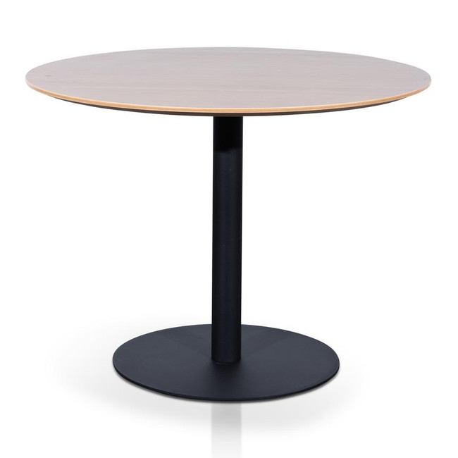 Dan Walnut Round Office Meeting Table With Black Base
