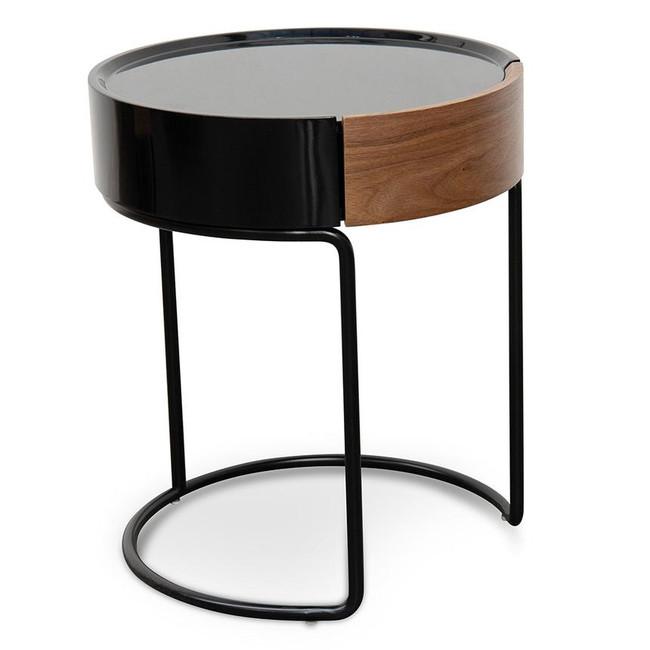 Ole Scandinavian Walnut and Black Side Table