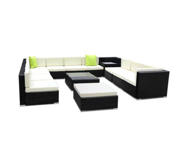 Drummoyne 13PC Sofa Set Wicker Garden Patio Lounge