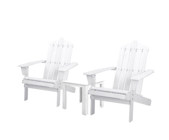Ebenezer White Wooden Sun Lounge Beach Chairs Table