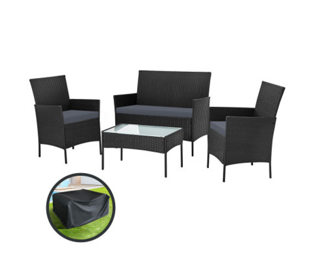 Edgecliff Black Lounge Setting Wicker Sofa Patio Storage