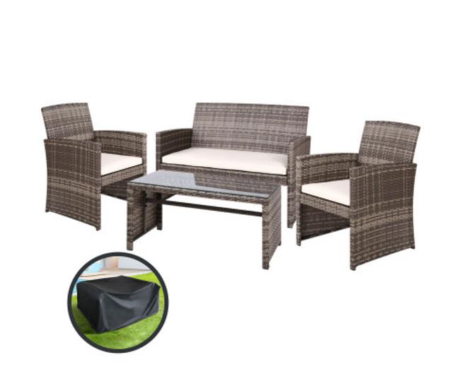 Freshwater Grey Lounge Setting Sofa Set
