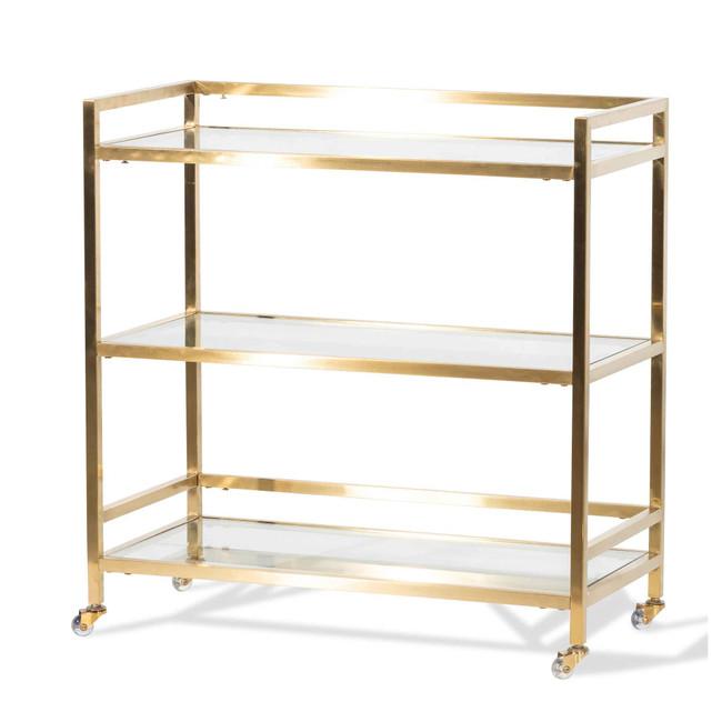 Oakville Glass Bar Cart with Gold Base