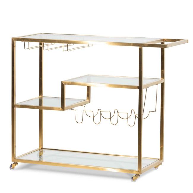 Oatlands Glass Bar Cart Gold Base