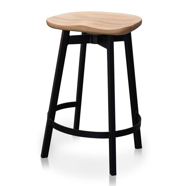 Panania Bar Stool Matt Black Timber Seat