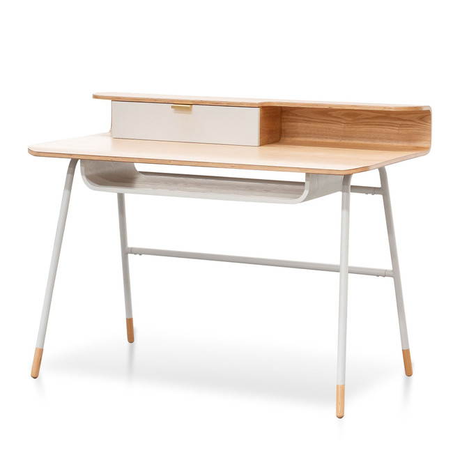 Ascot White and Natural Wooden Home Office Desk
