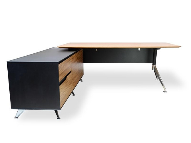 Designer Executive Office Desk Under Desk Left Storage Return - Zebra Oak - 1.95m Top