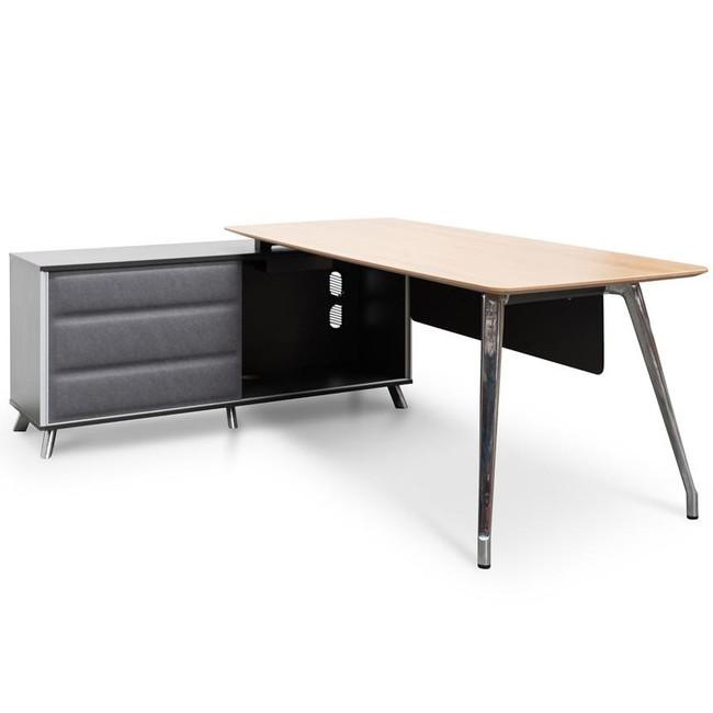 Office Desk Left Return Storage - 2m - Natural Wood - Black