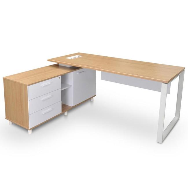 Vapour Modern Executive Office Desk with Left Storage Return - Natural