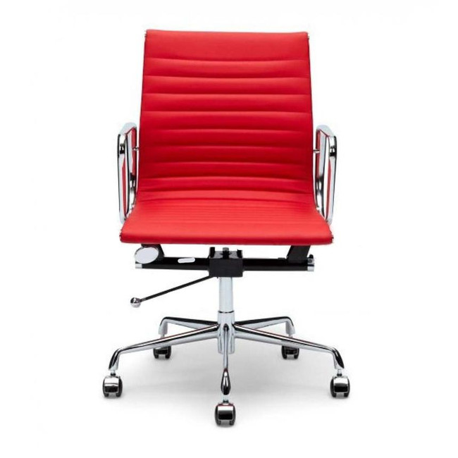 Eames Replica PU Leather Boardroom Chair - Mid Back - Red
