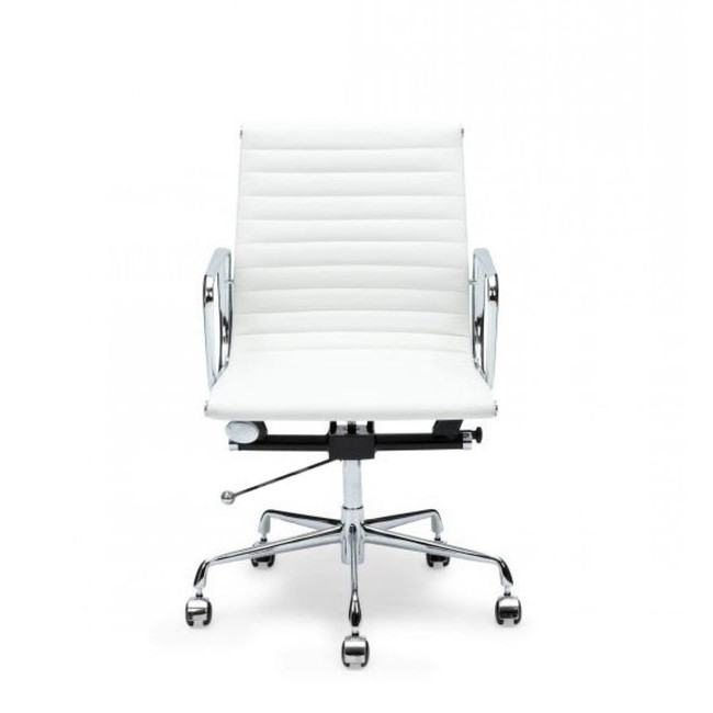 Eames Replica PU Leather Boardroom Chair - Mid Back -White