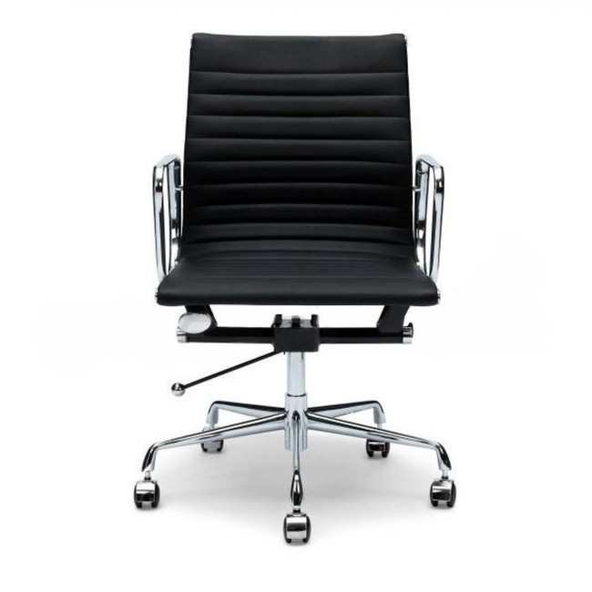 Eames Replica Italian Leather Boardroom Chair - Mid Back - Black