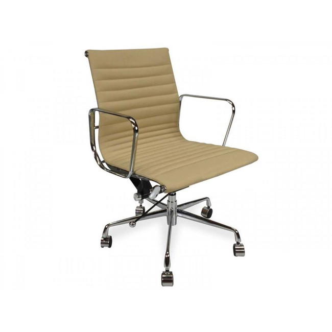 Eames Replica PU Leather Boardroom Chair - Mid Back - Light Brown