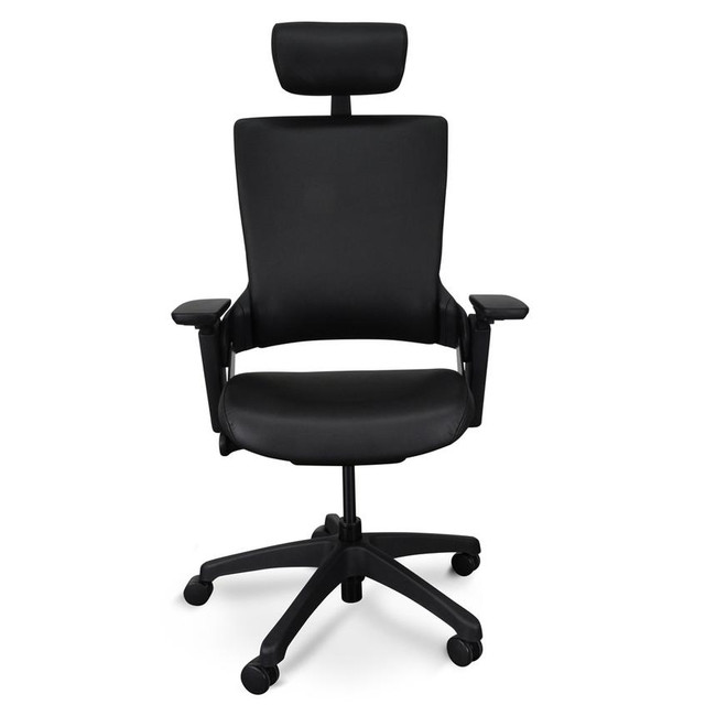 Flax Ergonomic Leather Office Chair with Headrest - Black