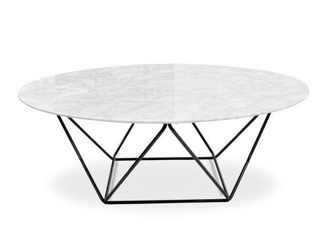 Sophie Round Marble Coffee Table - Black Base