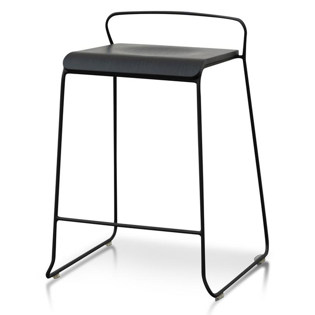 Aria Black Wooden Seat Stool - 65cm Seat Height