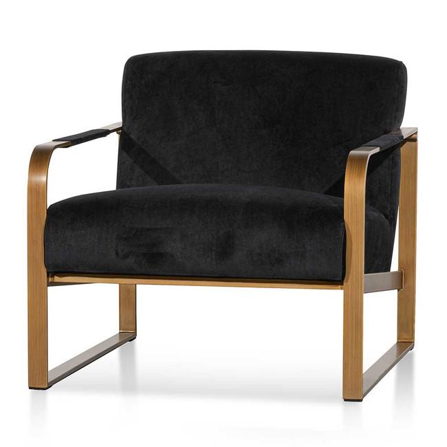 Banyo Black Velvet Armchair - Antique Golden Frame