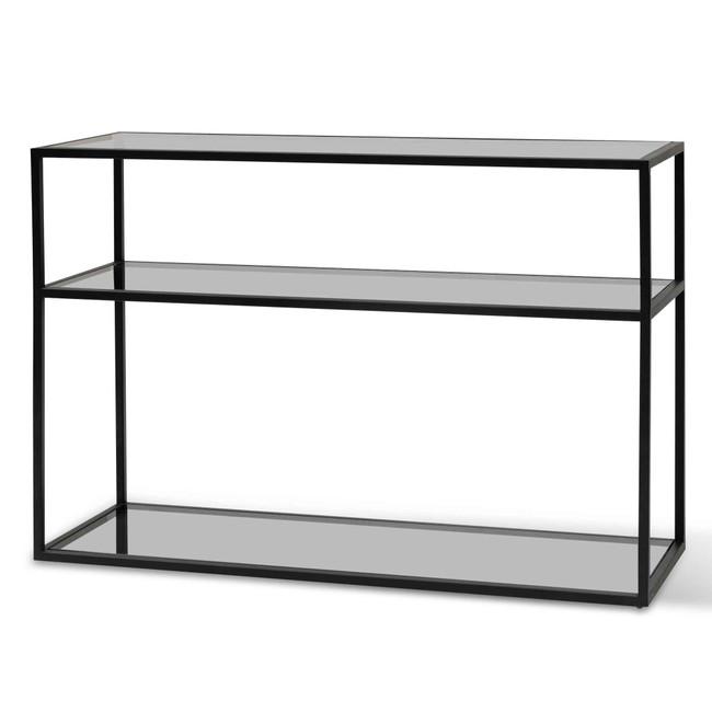 Capella 1.2m Grey Glass Console Table - Black Base
