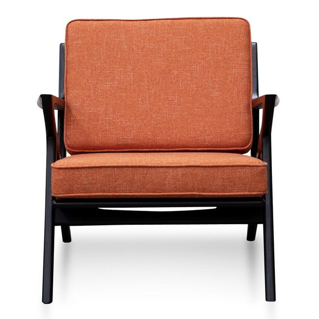 Helidon Fabric Armchair - Rust Brown with Black Legs