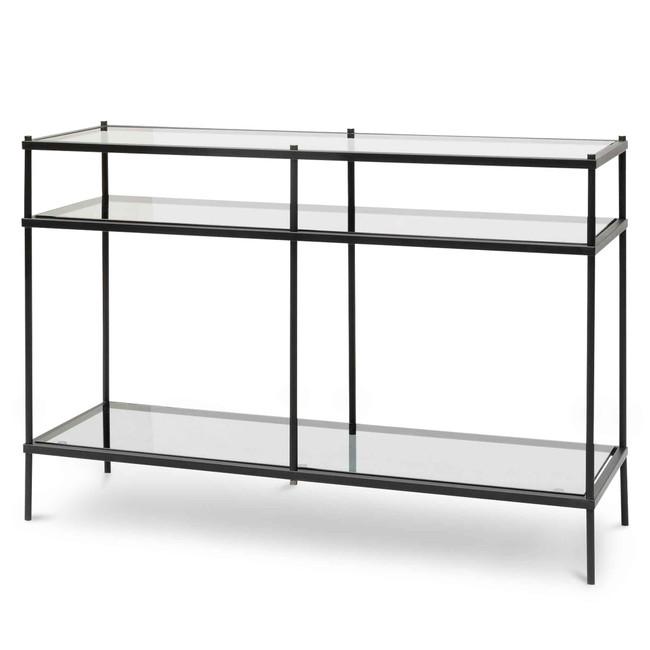 Ilkley 1.2m Grey Glass Console Table - Black Base