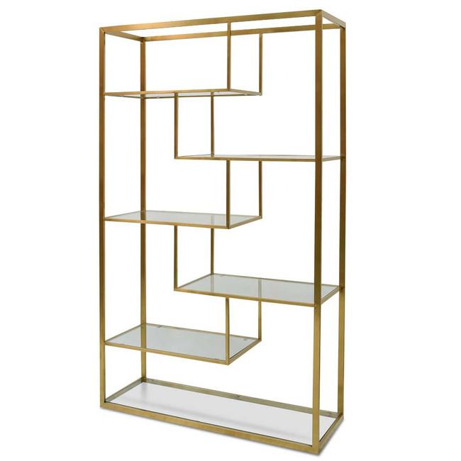 Helidon 1.2m Glass Shelving Unit - Gold  Frame