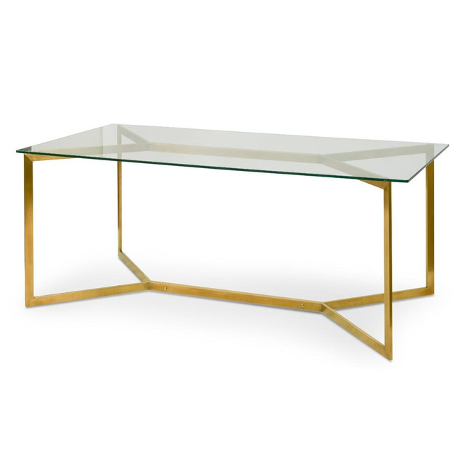 Haden 1.9m Glass Dining Table -  Gold Base