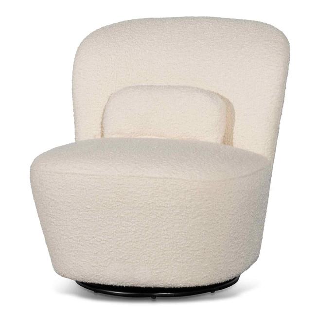 Grange Swivel Lounge Chair - Ivory White Boucle