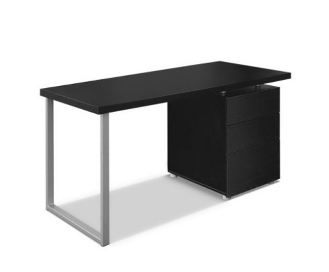 Artiss Metal Black Office Desk with 3 Drawers Cabinet
