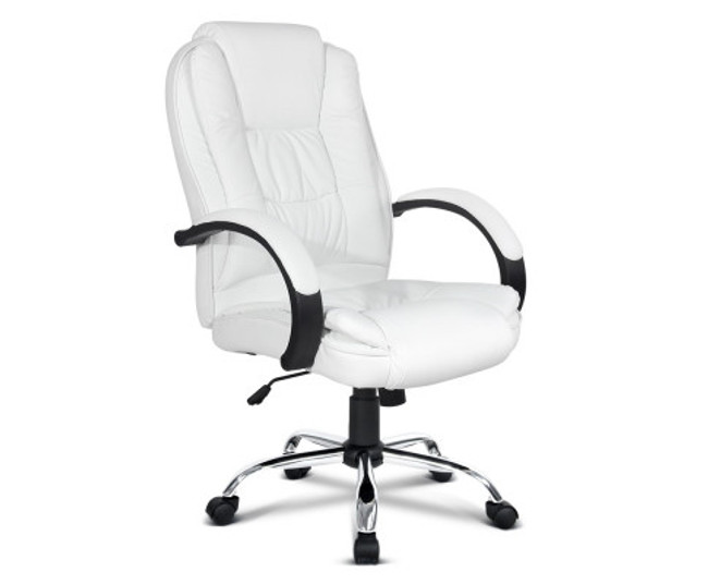 Executive White PU Leather Computer Chair for Offices