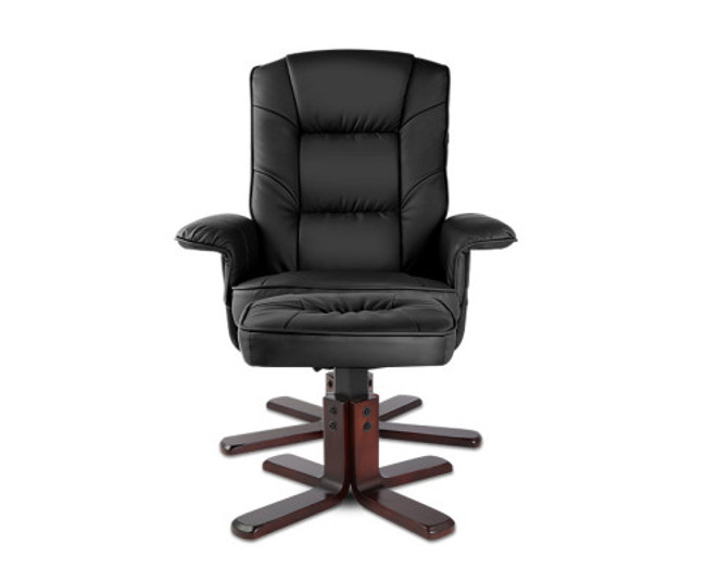 Artiss Black PU Leather Wood Executive Recliner Armchair