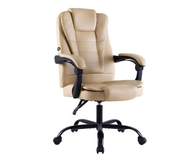 Artiss Khaki PU Leather Electric Massage Office Recliner Chair