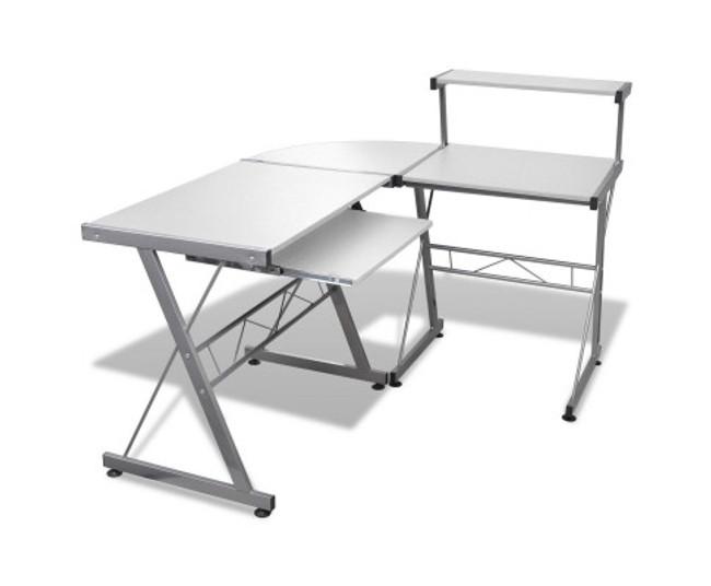 Artiss Corner Metal Pull Out White Table Desk