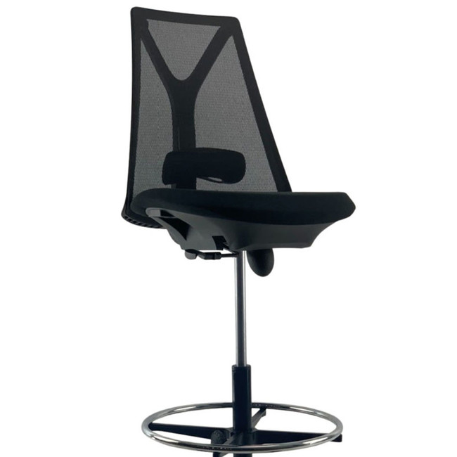 Robin Black Mesh Chrome Base Drafting Chair