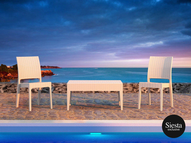3 Piece Resin Rattan Pool Side Setting with Florida Chair