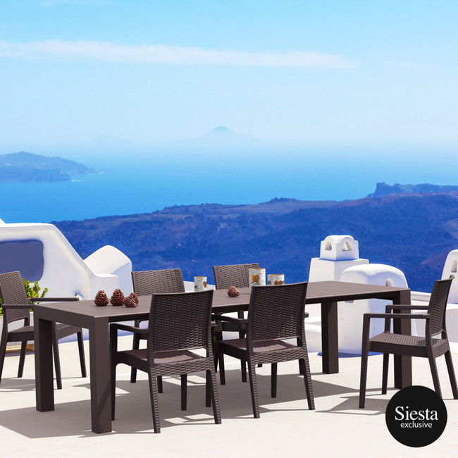 6 Seater Outdoor Dining Set in Rattan and Vegas Table