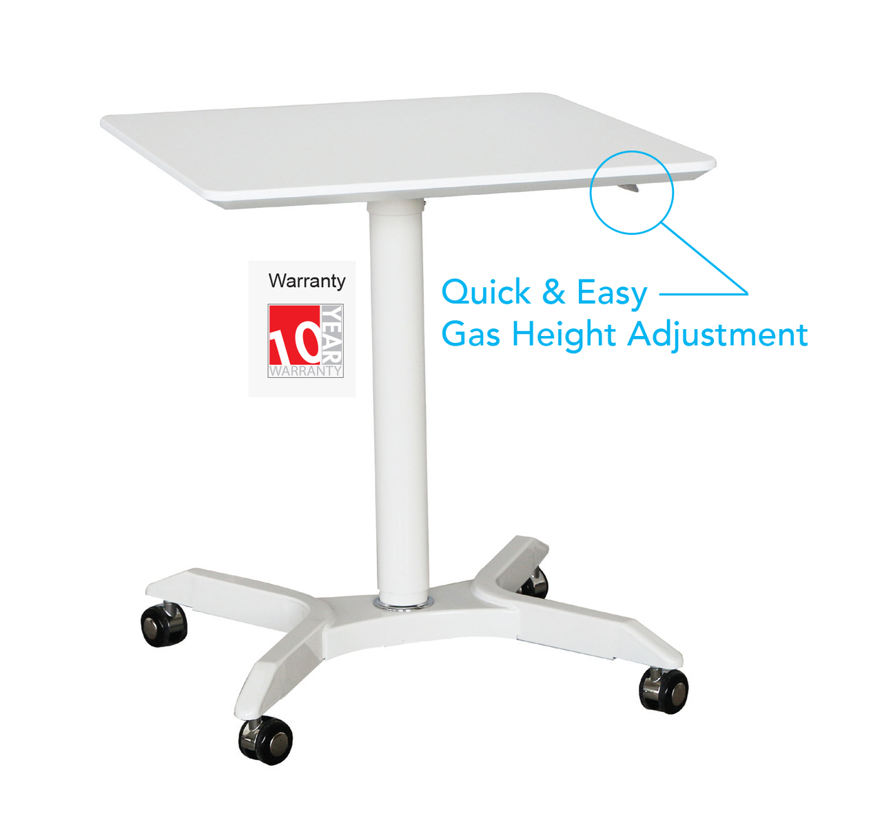 Helsinki Manual Height Adjustable Table Sit To Stand Desk On Wheels