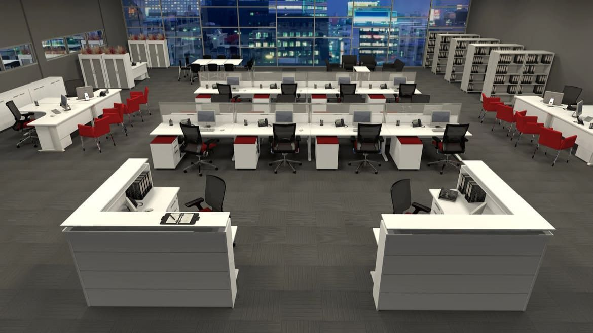 Open Plan Office with 8 Person Workstations, Corner Desks and Red Seating