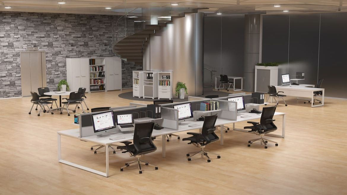 Huge Open Plan Office with One 6 Person Workstation, Bookshelves, a Meeting Table and an L-Desk