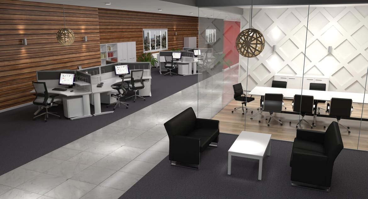 Open Plan Office With Workstations and a Glass Boardroom with Executive Reception Lounges