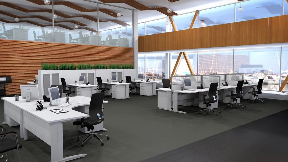 Open Plan Office with Workstations with Desk Screens, Height Adjustable L-Desks and Black Office Chairs