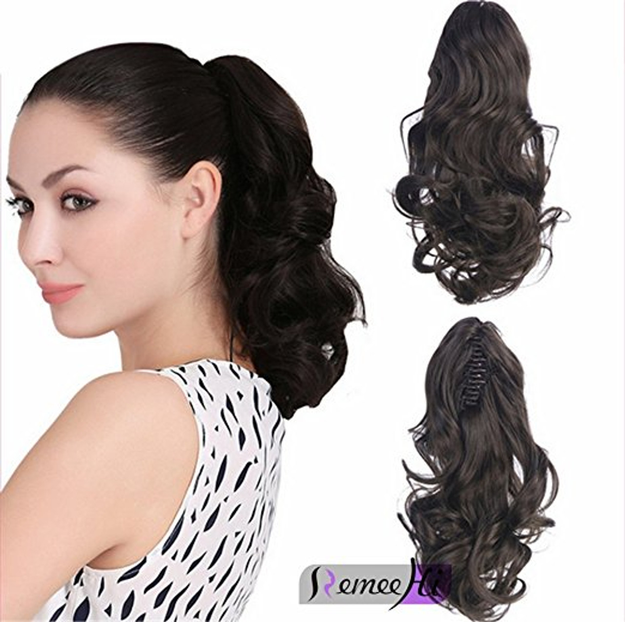 Body Wave Real Human Hair Ponytails Hairpiece Claw Clip Ponytail Hair  Extensions 1e7c72c09