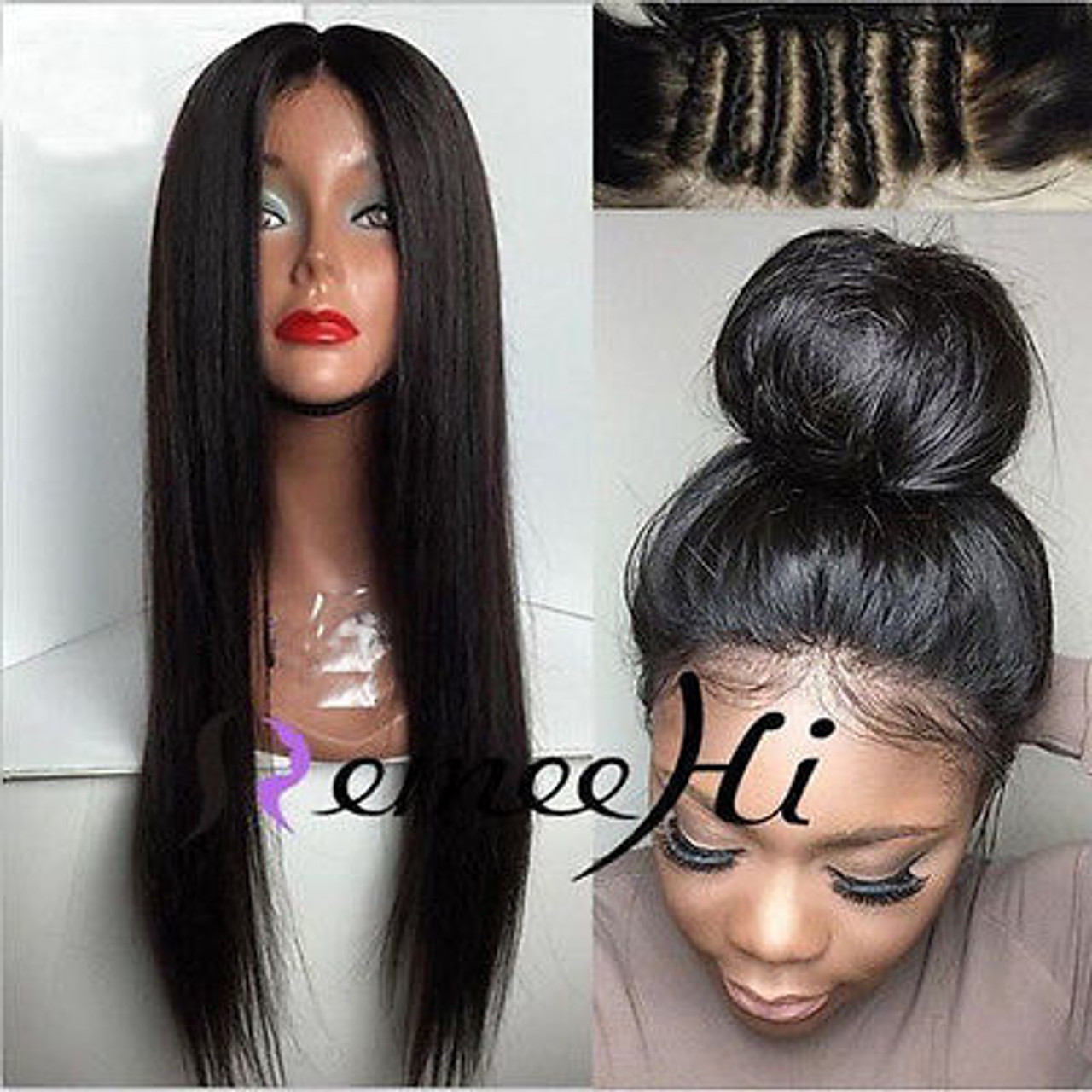 Remeehi Silk Straight Indian Virgin Hair With Baby Hair Natural Color