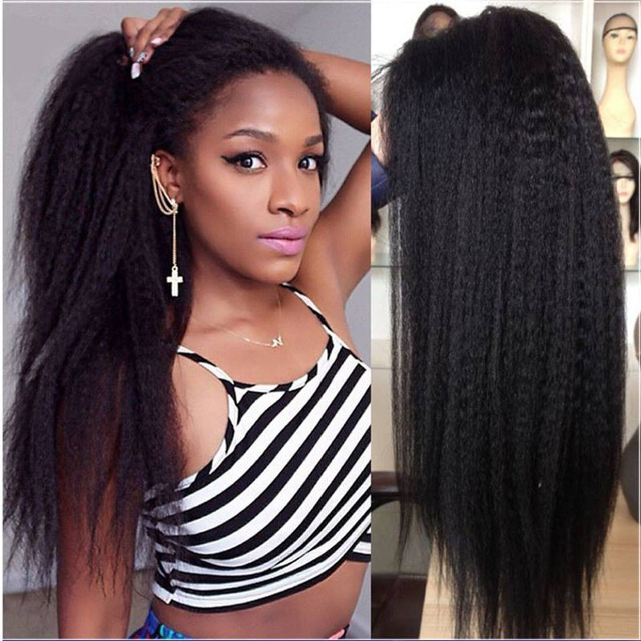 Remeehi Kinky Straight Full Lace Wigs With baby hair Indian remy hair for  black women 050349ae185a