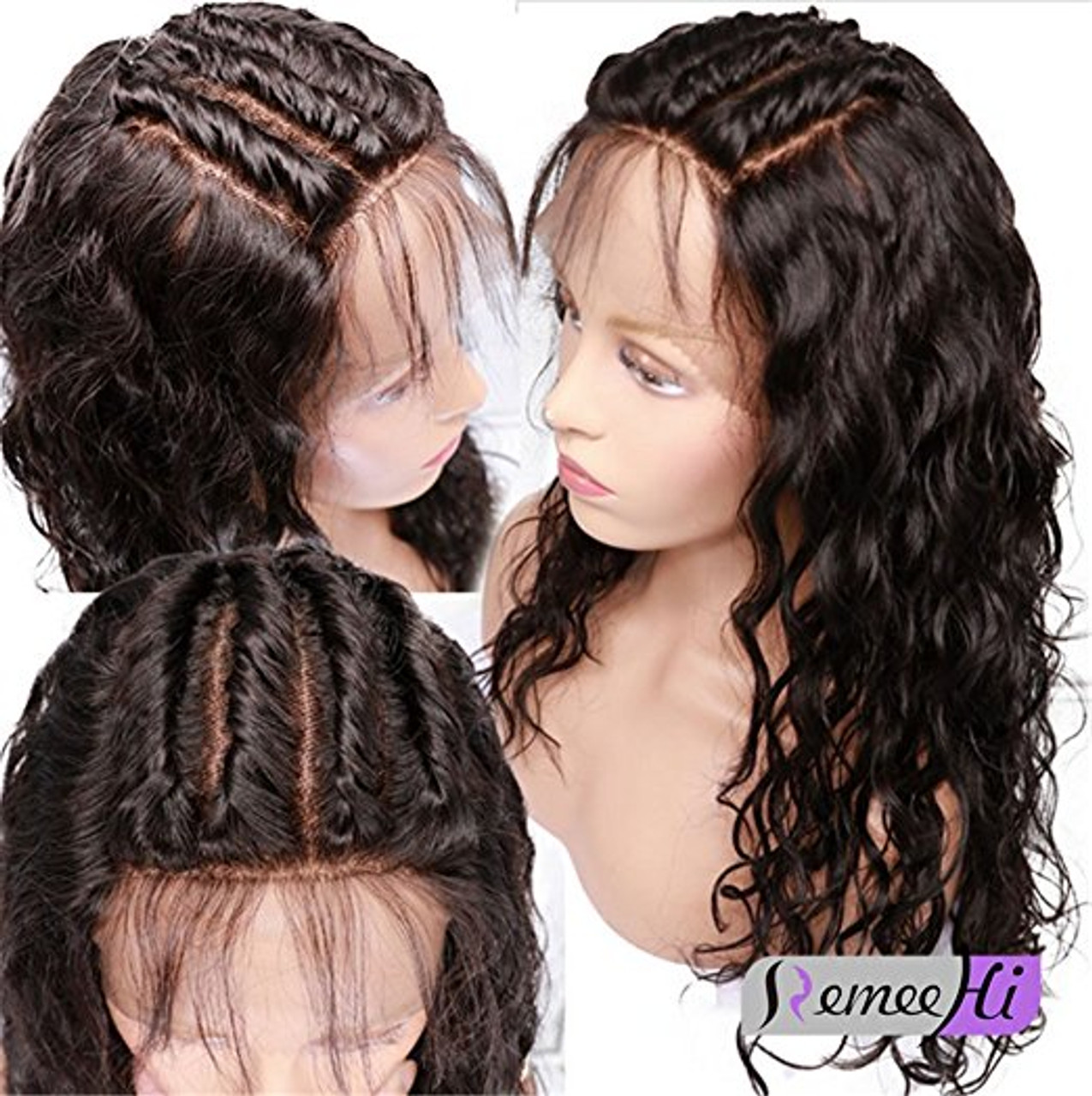 Remeehi Natural Wavy Full Lace Wigs With