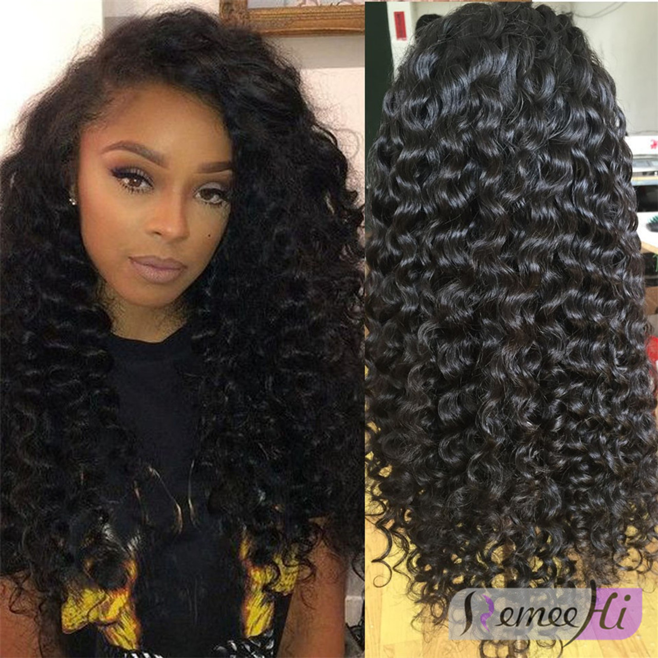 Remeehi Deep Wave Full Lace Wigs With Baby