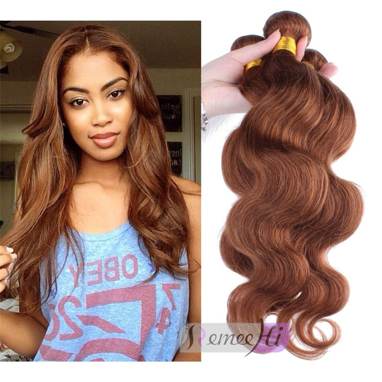 Remeehi Body Wave 30 Honey Brown Hair Weft Human Hair Extensions Peruvian Virgin Hair