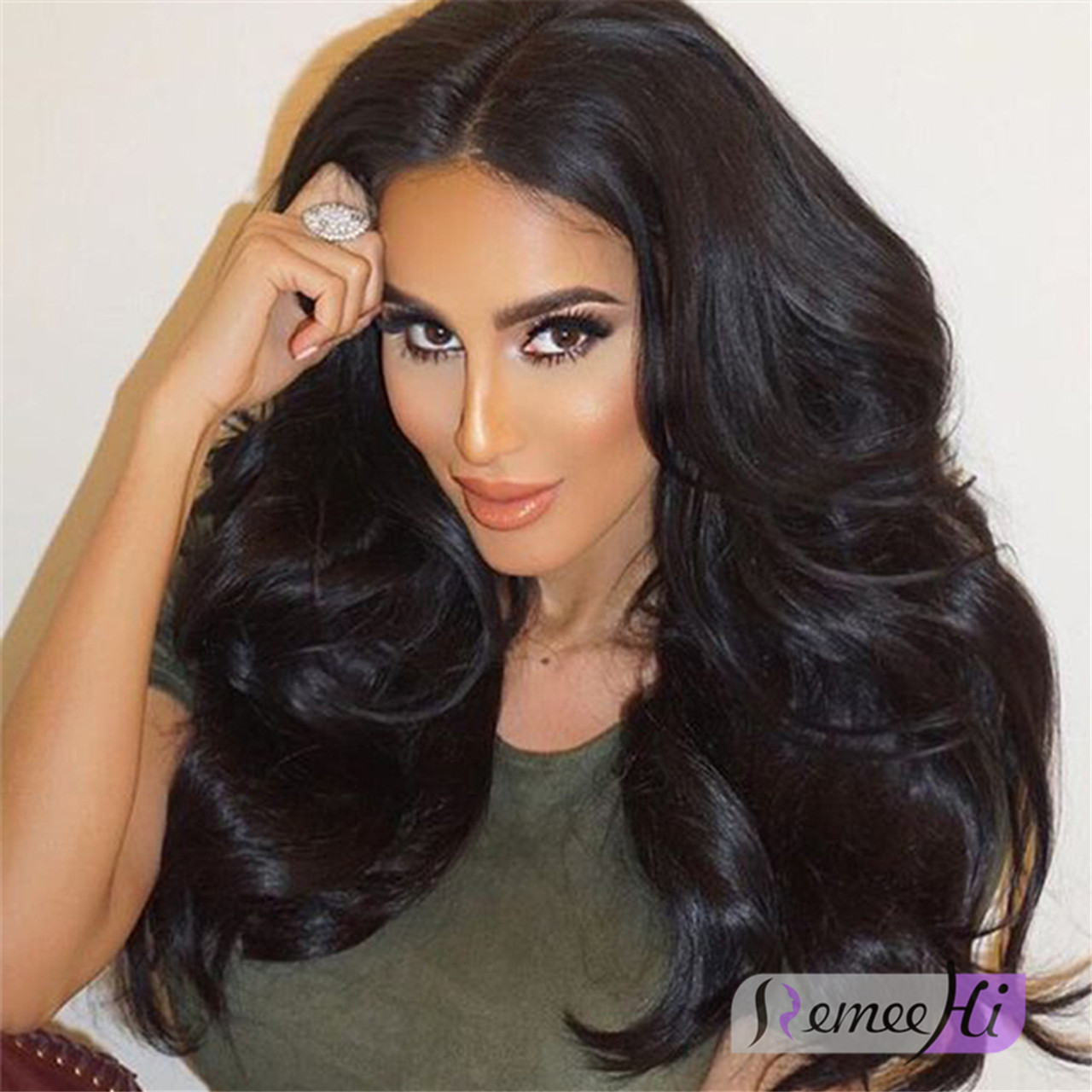 Remeehi Wave Lace Front Wigs Indian Remy Hair With Baby Hair 8