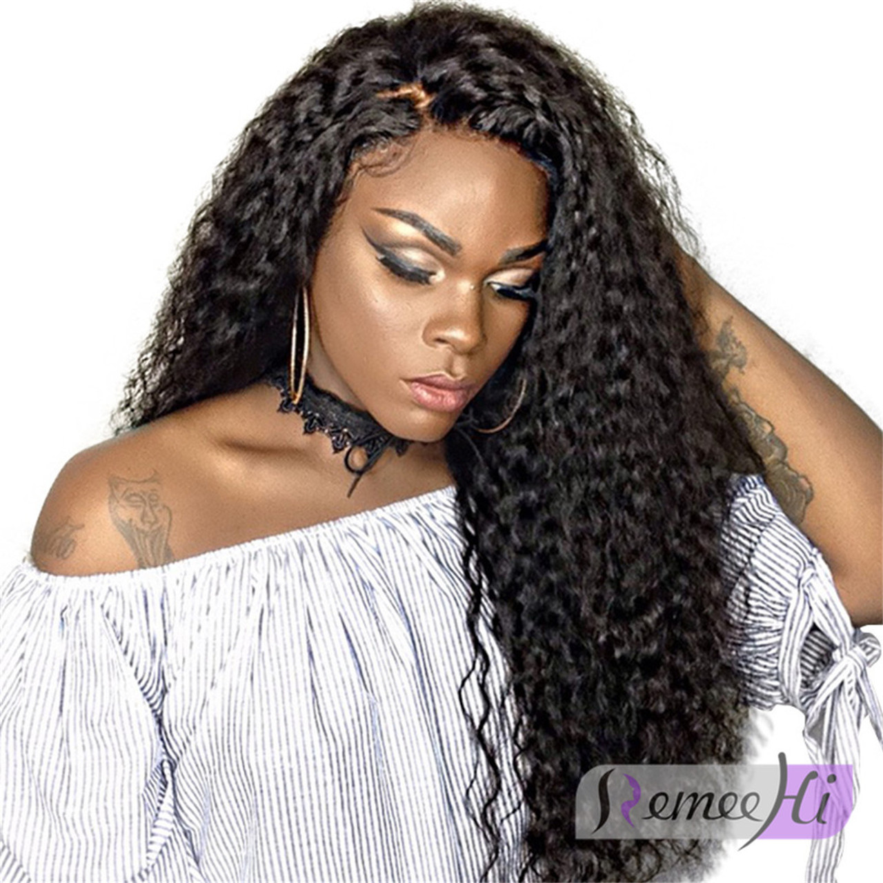 Curly Full Lace Wig With Baby Hair Indian Remy Hair - RemeeHi 3a93c7cfc684